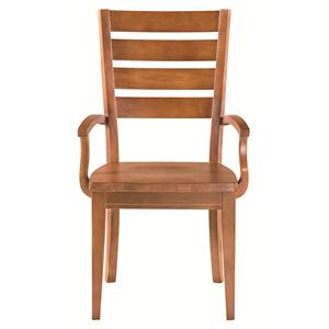Low Arm Chair with Ladderback Design