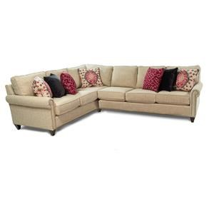 Maxwell Custom Design 2PC Sectional w/ Roll Arms and Nailhead Trim