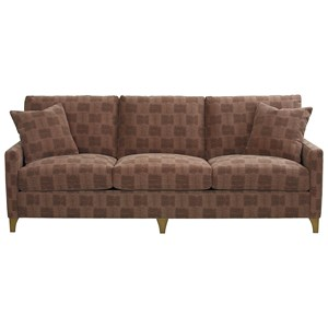 "Custom Design 102"" Sofa with Track Arms and Metal Legs"