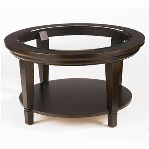 Glass Top Round Cocktail Table with Shelf