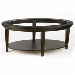 Oval Cocktail Table with Beveled Glass Insert Top and Shelf