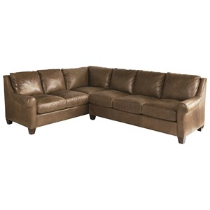 Transitional 5 Seat Sectional with Sock Rolled Arms
