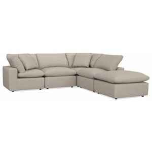Casual L-shaped Sectional with Ottoman Chaise