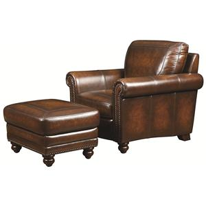 Traditional Leather Chair and Ottoman with Nail Head Trim