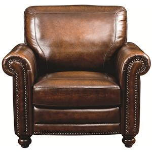Traditional Leather Chair with Nail Head Trim