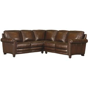 Traditional L-Shaped Leather Sectional with Nail Head Trim