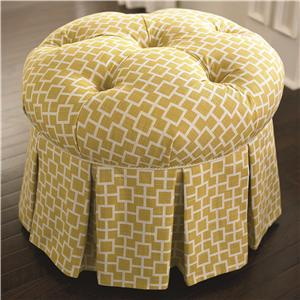 Country Cottage Styled Round Ottoman with Skirt and Seat Tufts