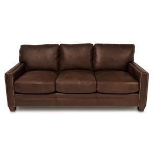 """80"""" Leather 3-Cushion Sofa"""