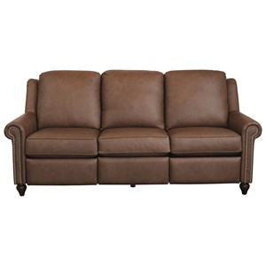 Customizable Power Reclining Sofa with Panel Arms and Turned Feet