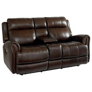 Leather Match Power Reclining Loveseat with Extended Footrests and Console
