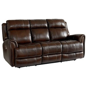 Leather Match Power Reclining Sofa with Extended Footrests