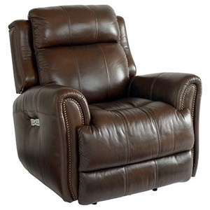 Leather Match Power Recliner with Extended Footrest
