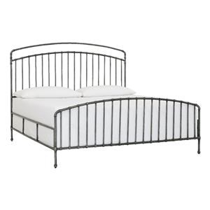 Miriam Queen Metal Bed in Textured Pewter