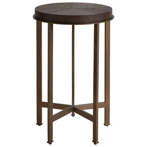 Contemporary Round Side Table with Metal Base