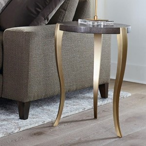 Contemporary Drink Table with Metal Base