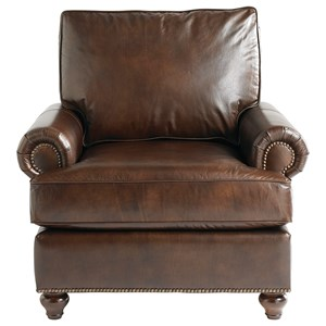 Casual Upholstered Chair with Bun Feet