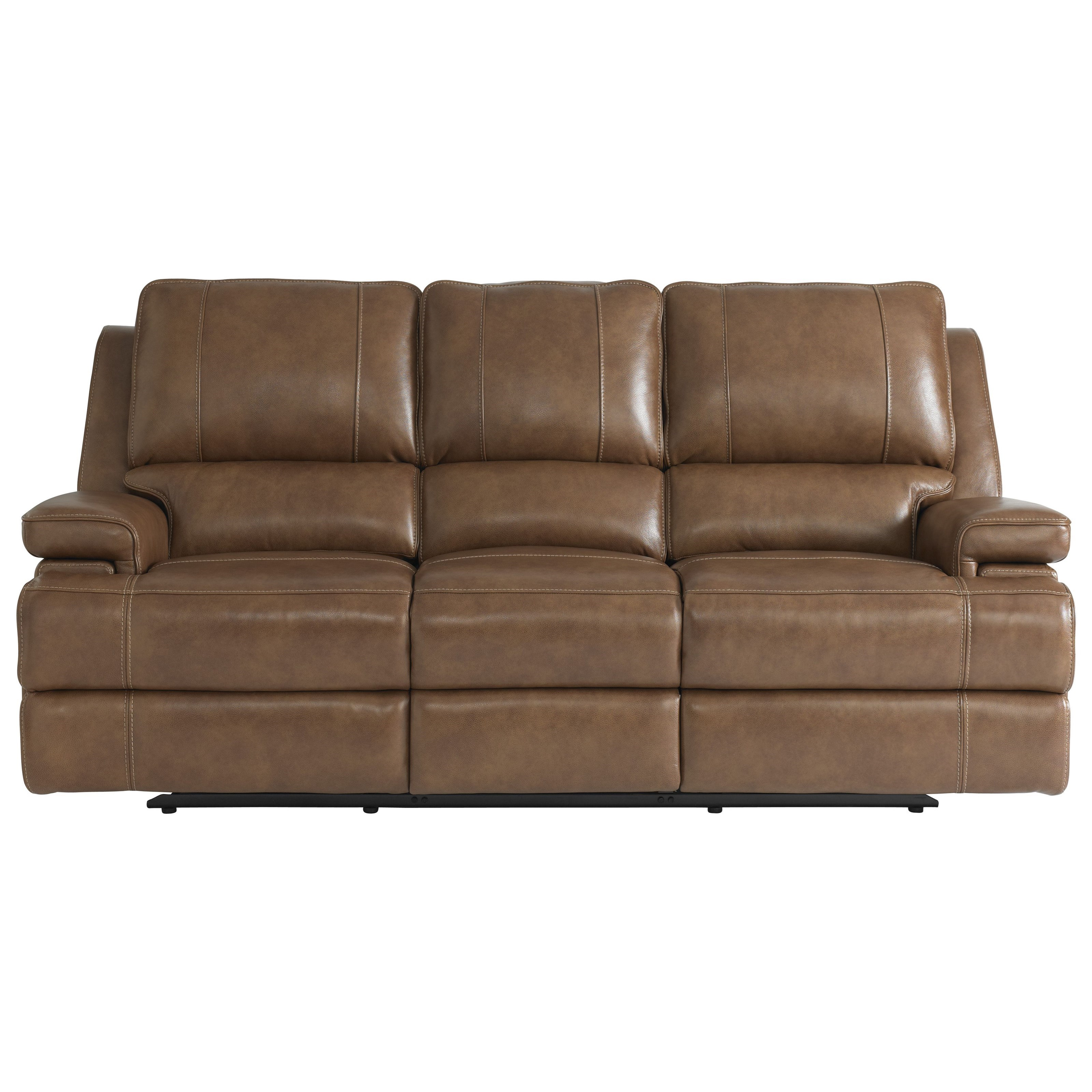 Parsons Club Level  Reclining Sofa with Power Headrests by Bassett at Johnny Janosik