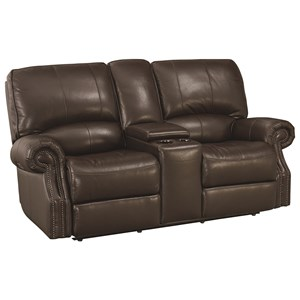 Transitional Power Motion Loveseat with USB Charging