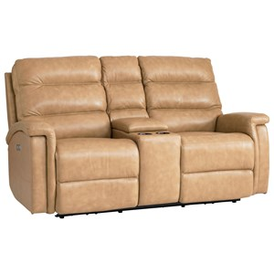 Leather Match Power Motion Loveseat with Power Adjustable Headrests and Console