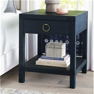 Blue Raffia End/Bedside Table