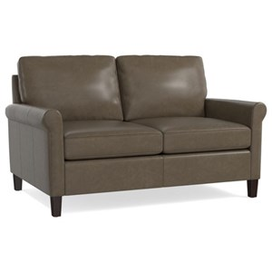 Transitional Loveseat with Sock Rolled Arms