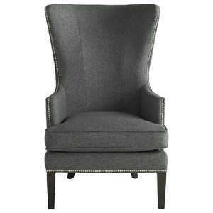 Contemporary Accent Chair with Curved Wing Design