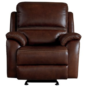 Contemporary Leather Power Glider Recliner with Power Headrest