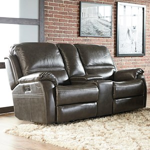 Contemporary Power Reclining Console Loveseat with Power Headrests