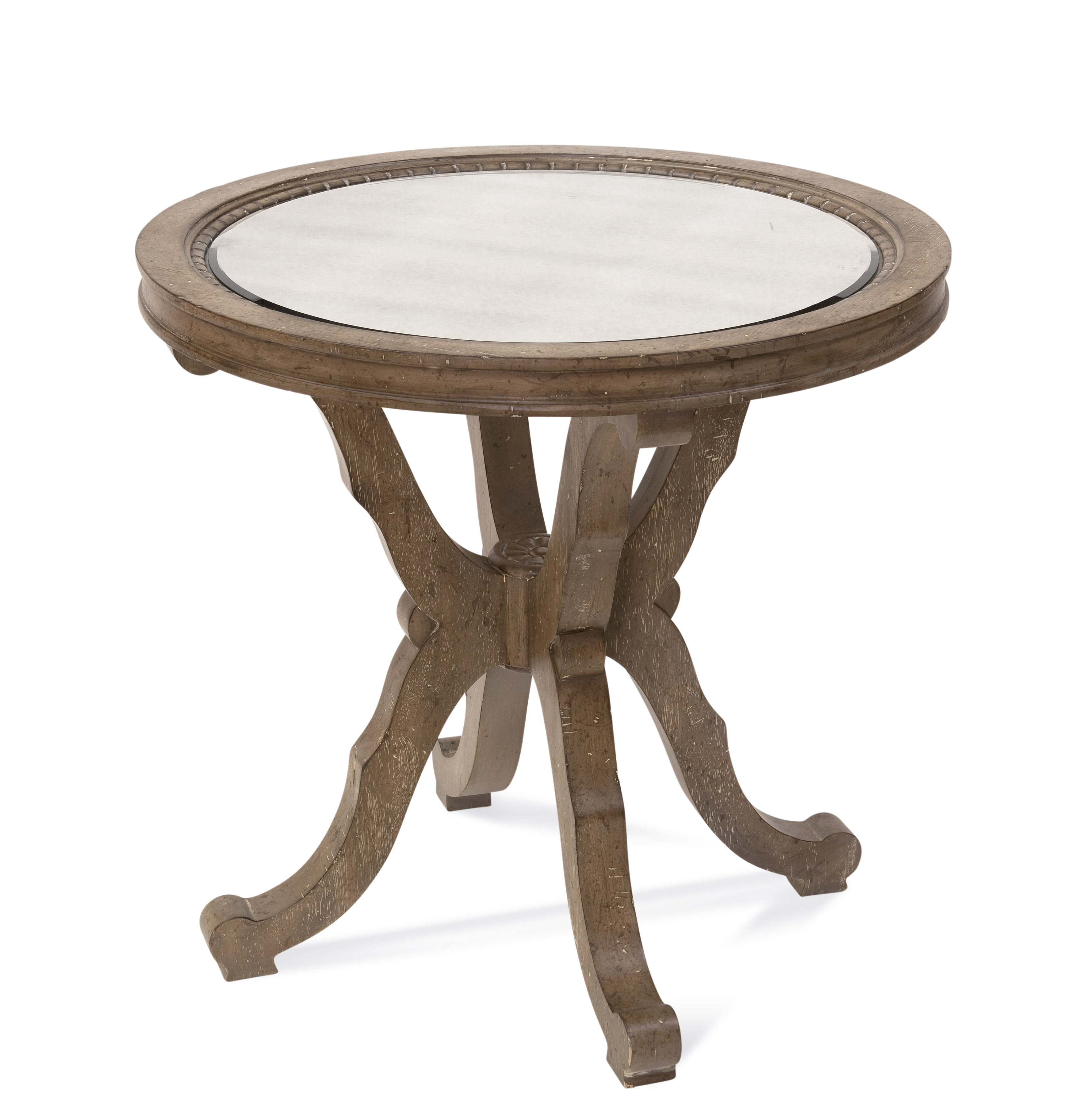 Belgian Luxe Galliano Round End Table by Bassett Mirror at Alison Craig Home Furnishings