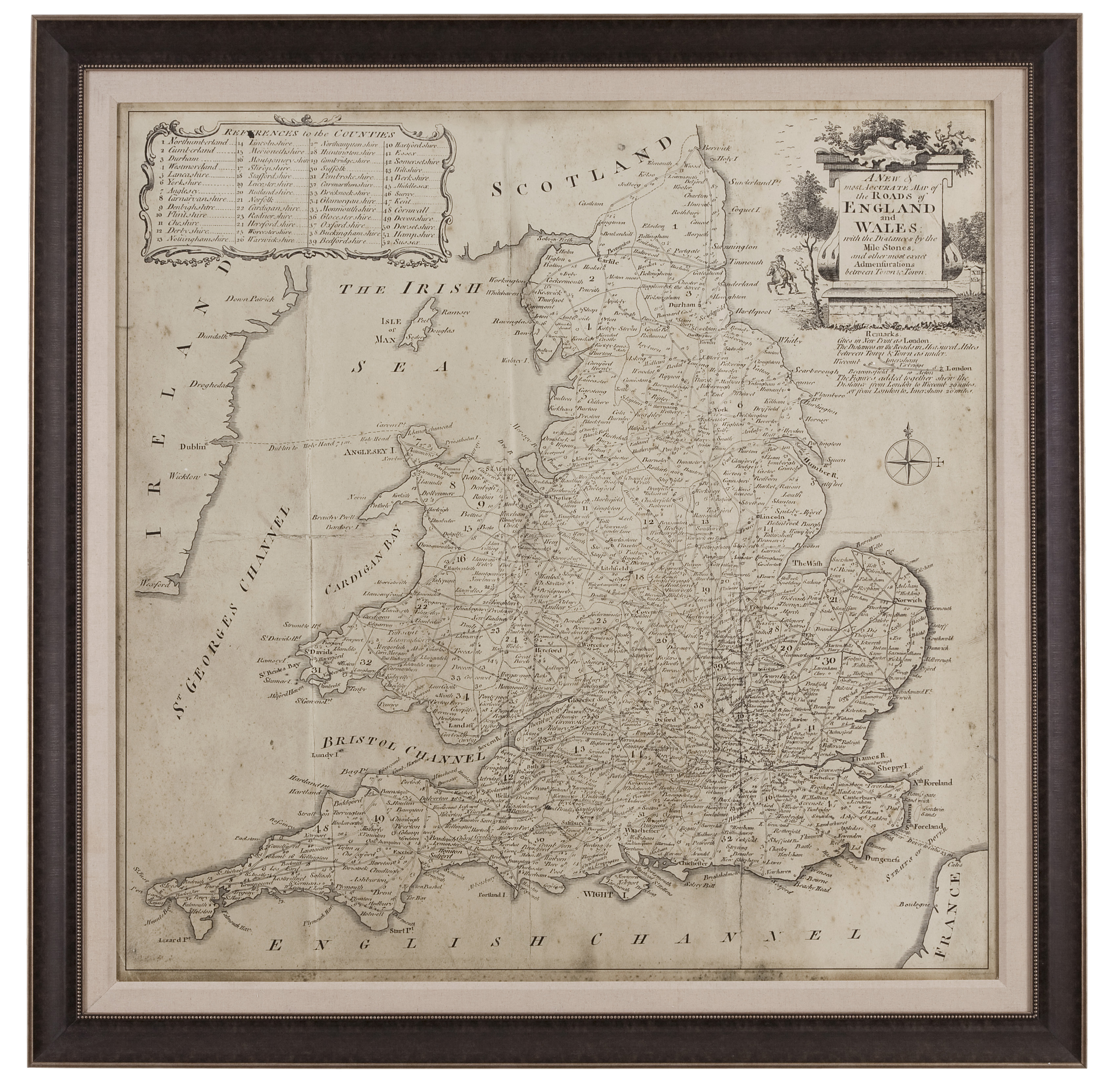 Belgian Luxe Road Map of England & Wales by Bassett Mirror at Alison Craig Home Furnishings