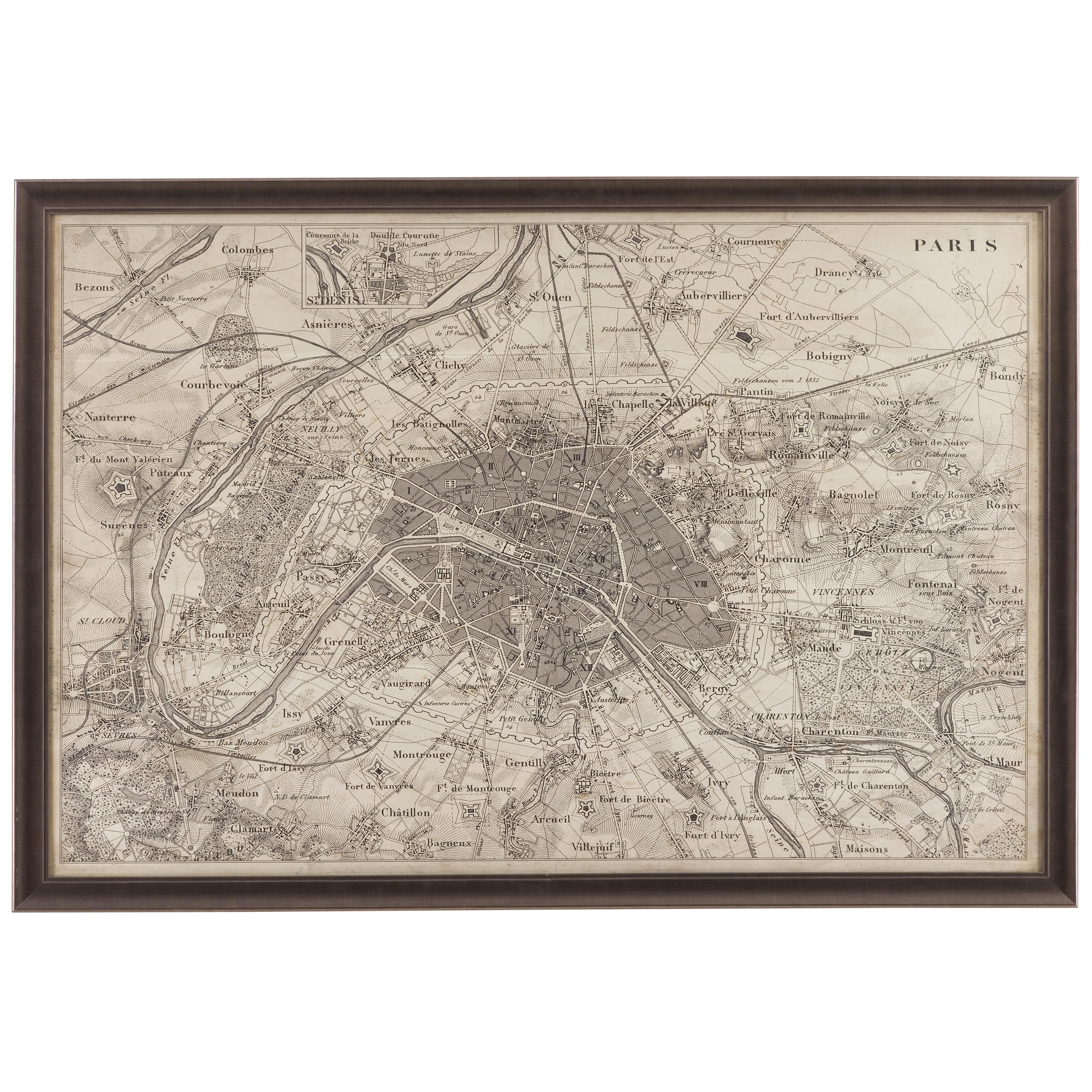 Belgian Luxe Map of Paris by Bassett Mirror at Alison Craig Home Furnishings