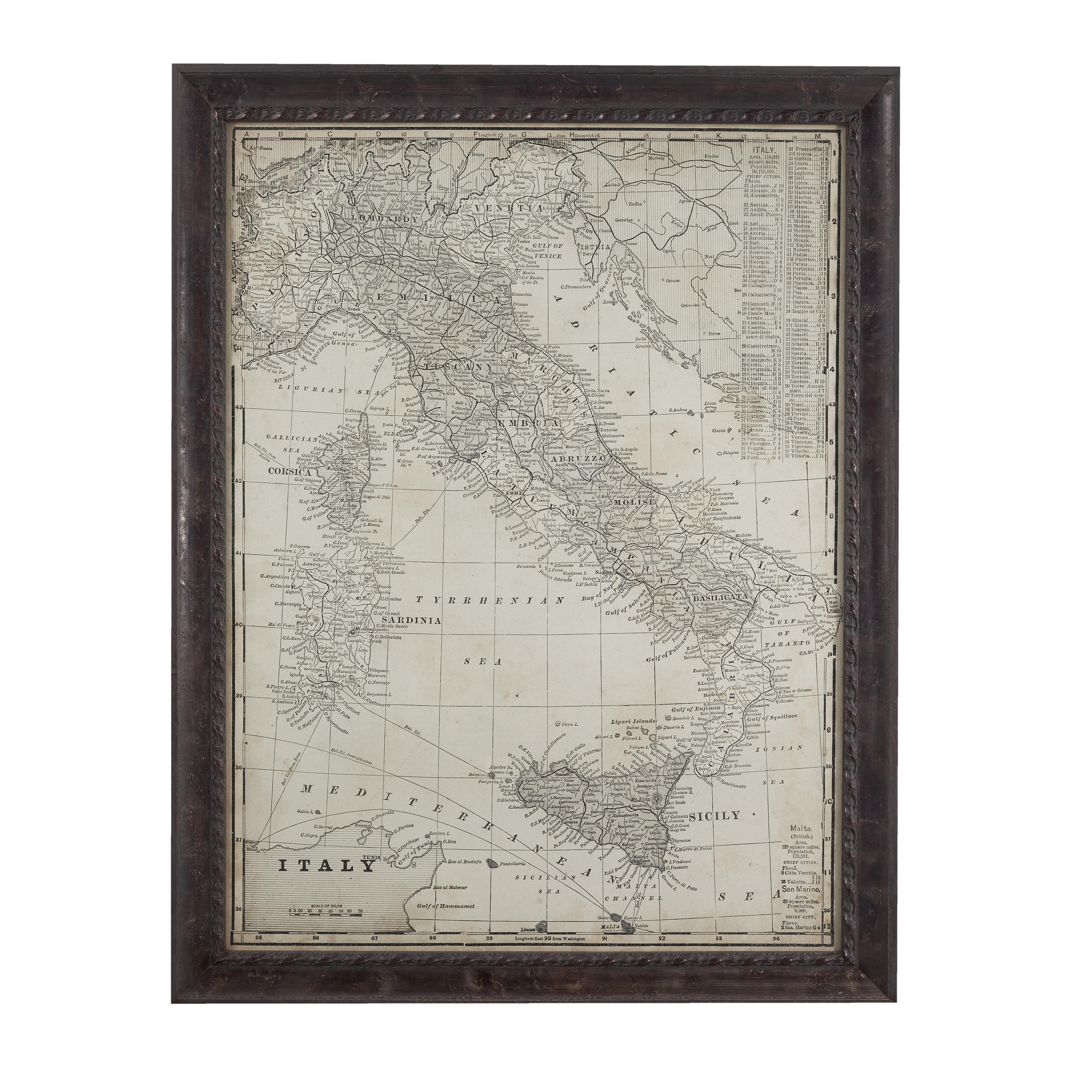 Belgian Luxe Antique Map of Italy by Bassett Mirror at Alison Craig Home Furnishings