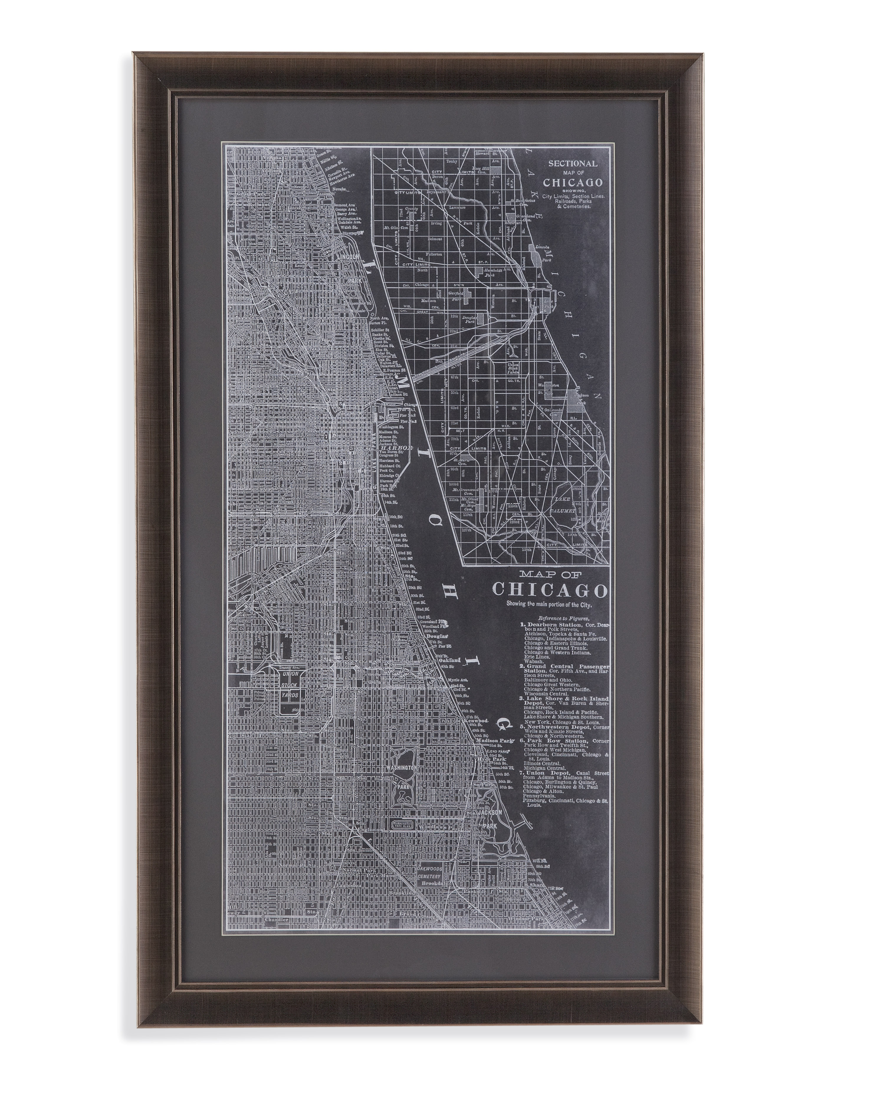 Belgian Luxe Graphic Map of Chicago by Bassett Mirror at Alison Craig Home Furnishings