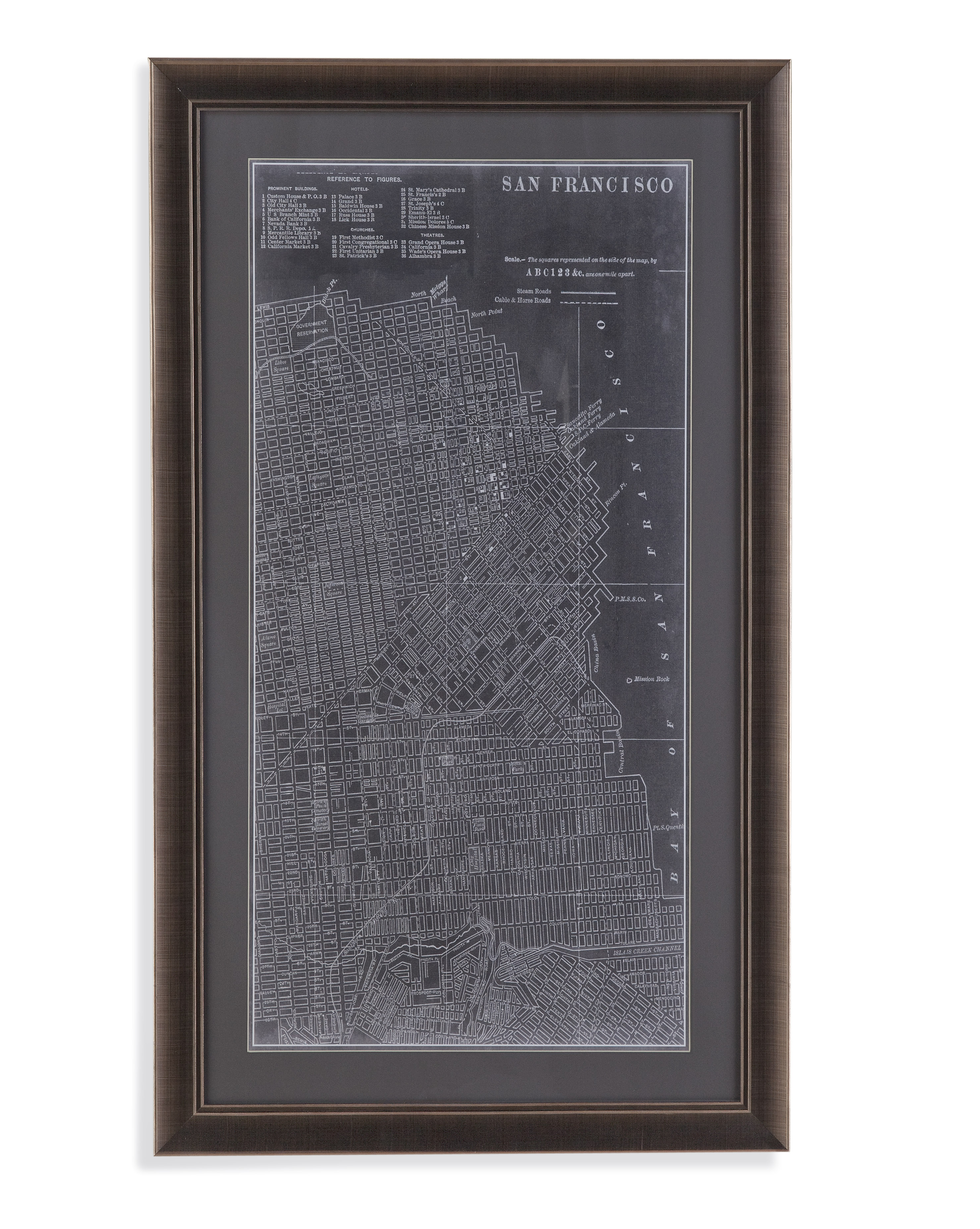 Belgian Luxe Graphic Map of San Francisco by Bassett Mirror at Alison Craig Home Furnishings