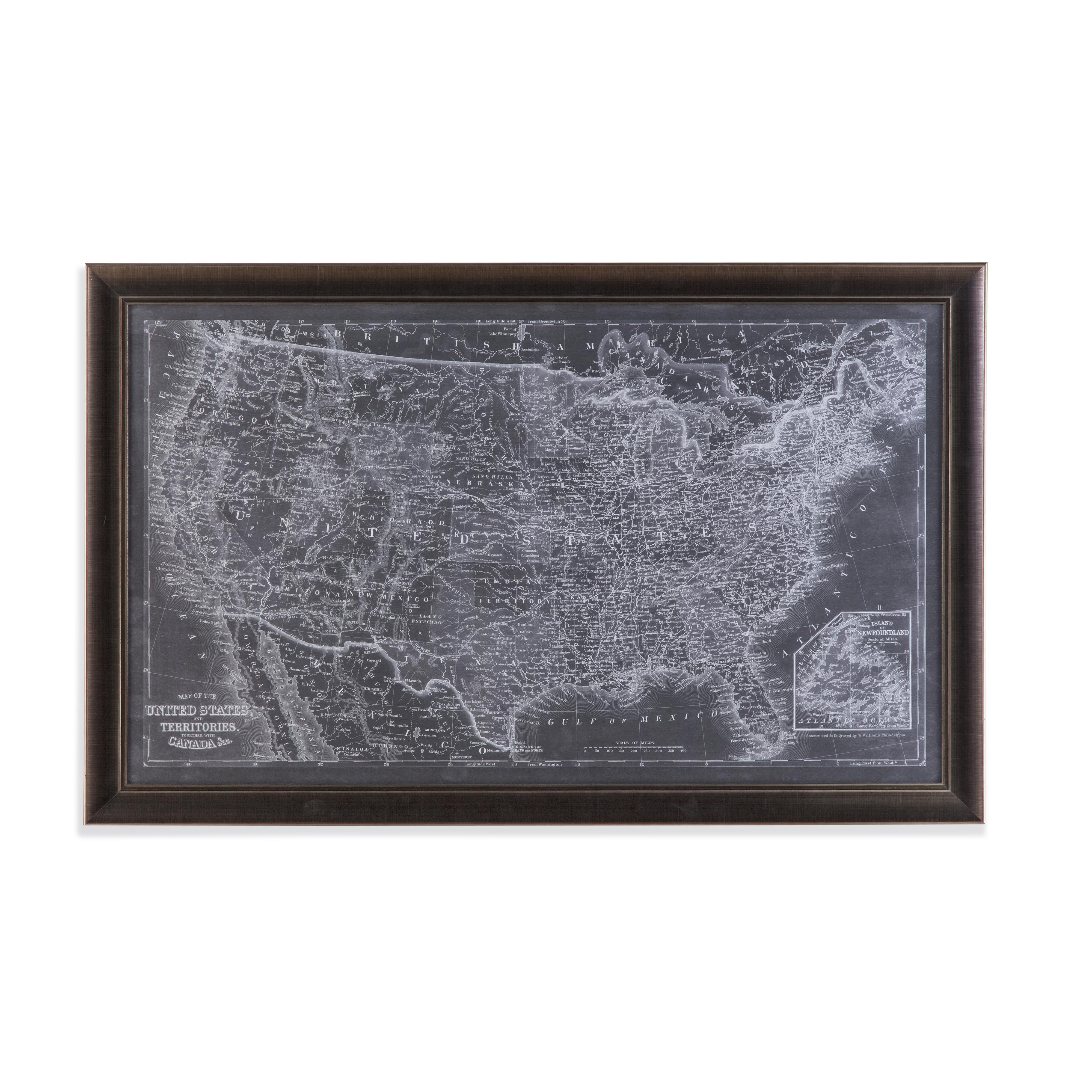 Belgian Luxe US Map Blueprint by Bassett Mirror at Alison Craig Home Furnishings