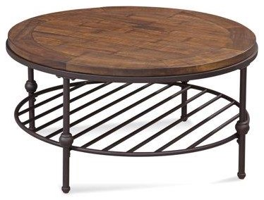 Emery Round Cocktail Table by Bassett Mirror at Darvin Furniture