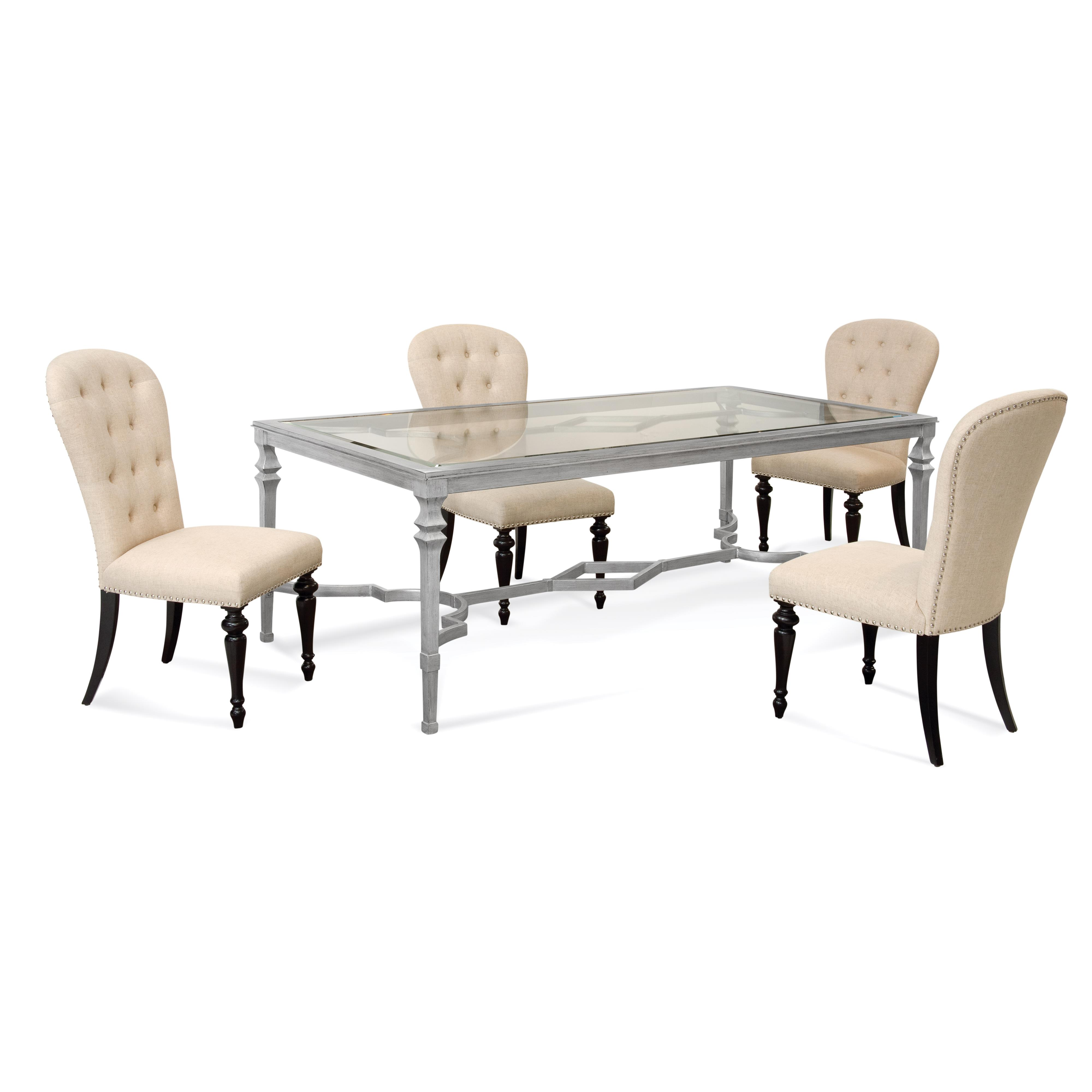 Hollywood Glam Sylvia Casual Dining Set by Bassett Mirror at Alison Craig Home Furnishings