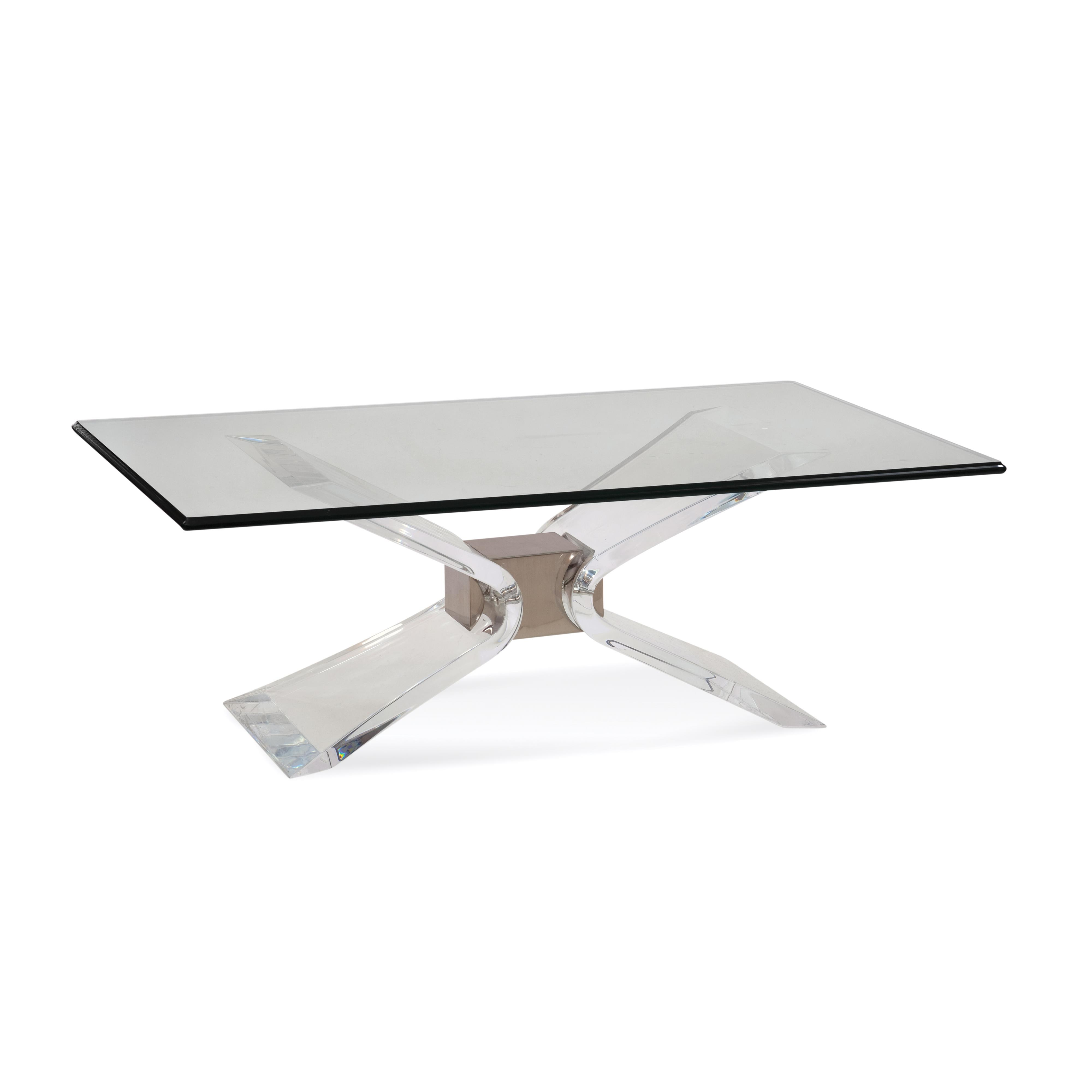 Hollywood Glam Silven Rectangle Cocktail Table by Bassett Mirror at Alison Craig Home Furnishings