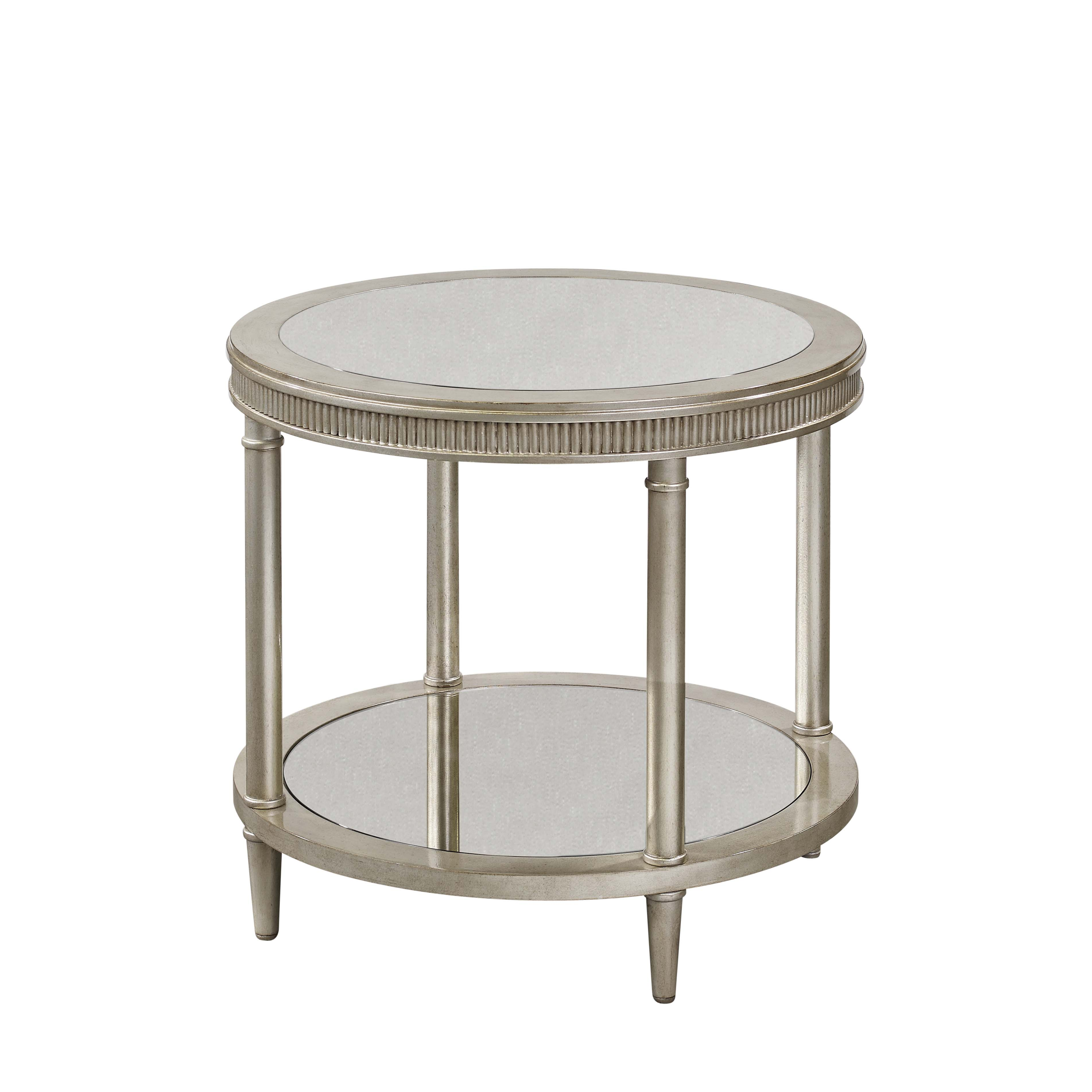 Hollywood Glam Vanesta Round End Table by Bassett Mirror at Alison Craig Home Furnishings