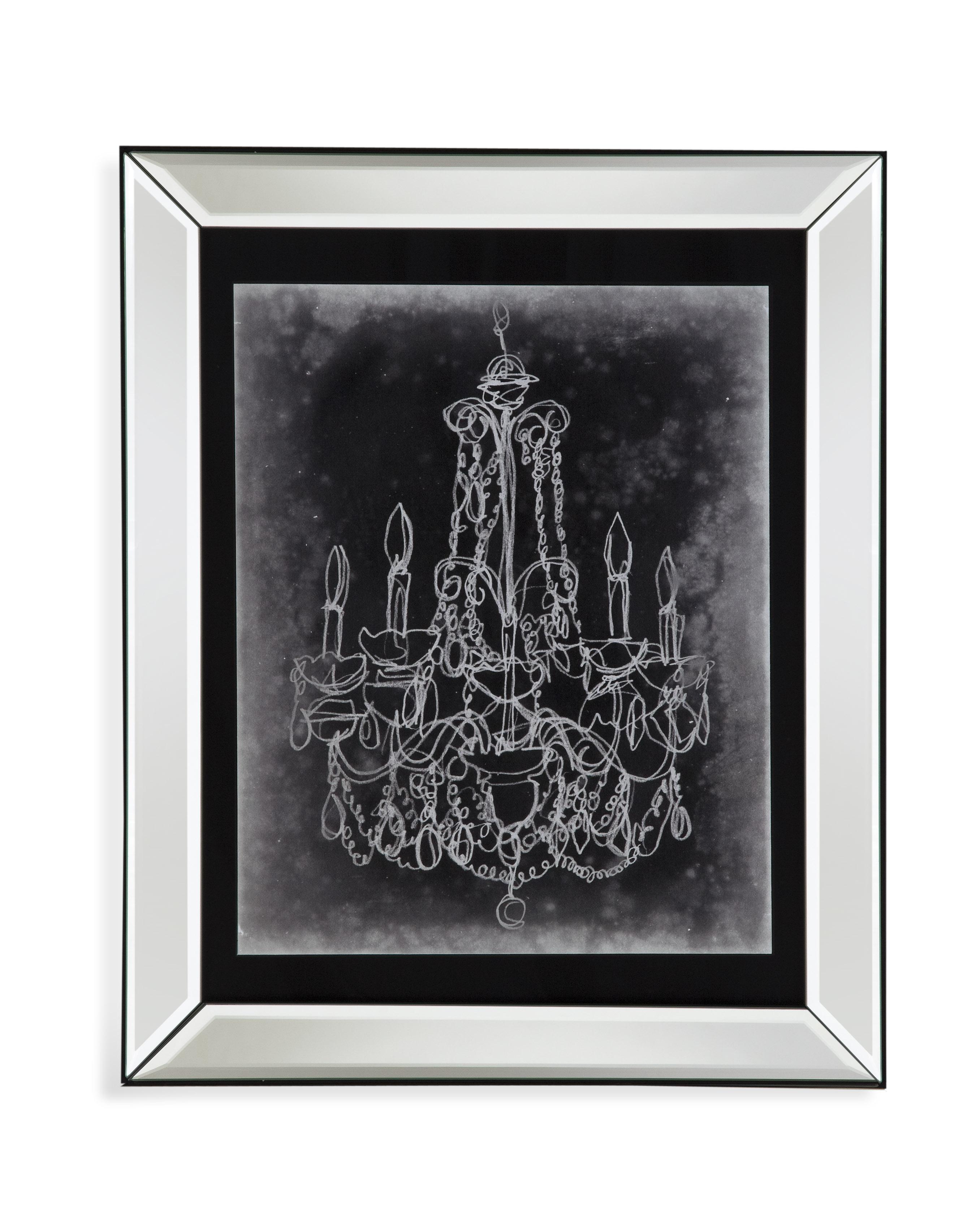 Hollywood Glam Chalkboard Chandelier Sketch III by Bassett Mirror at Lapeer Furniture & Mattress Center