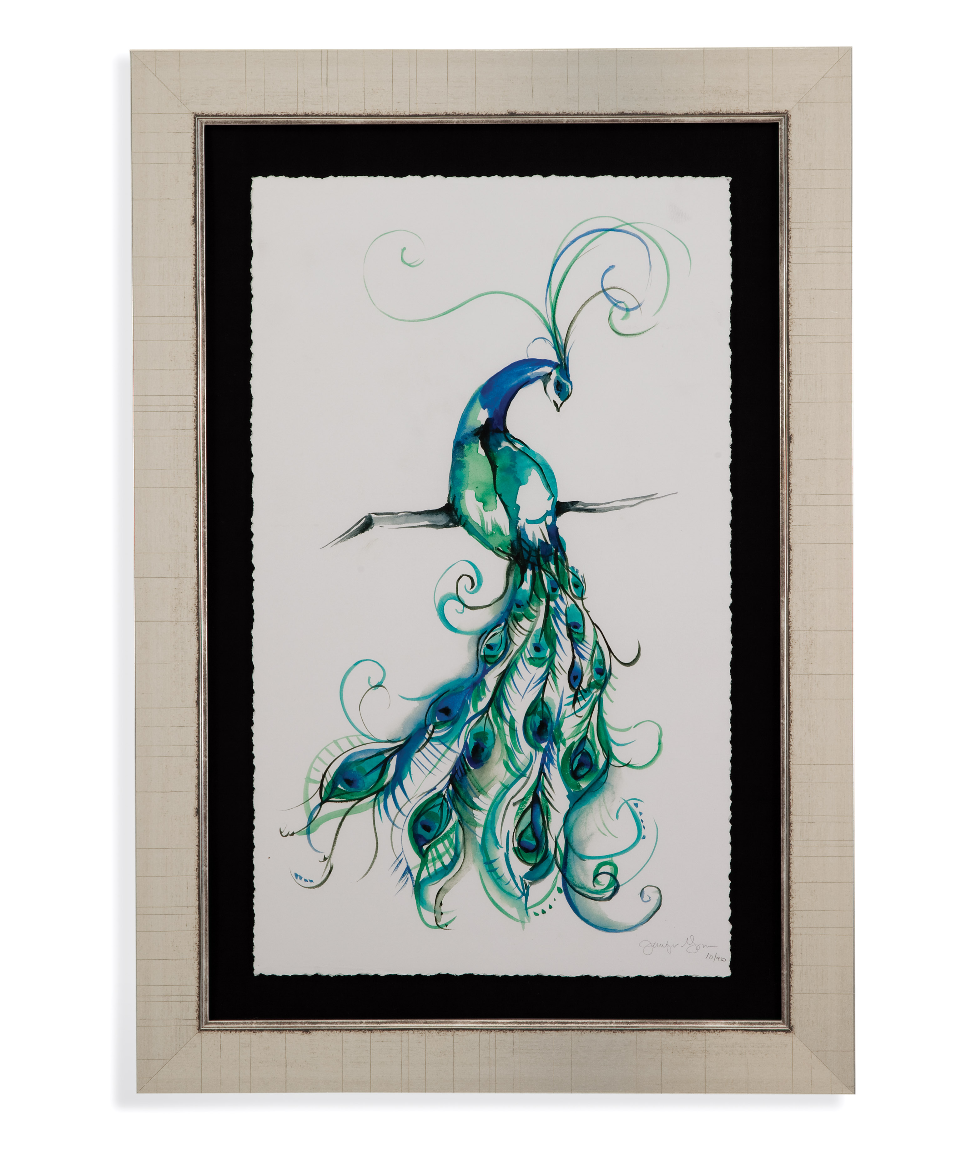Hollywood Glam Aquarelle Peacock I by Bassett Mirror at Lapeer Furniture & Mattress Center