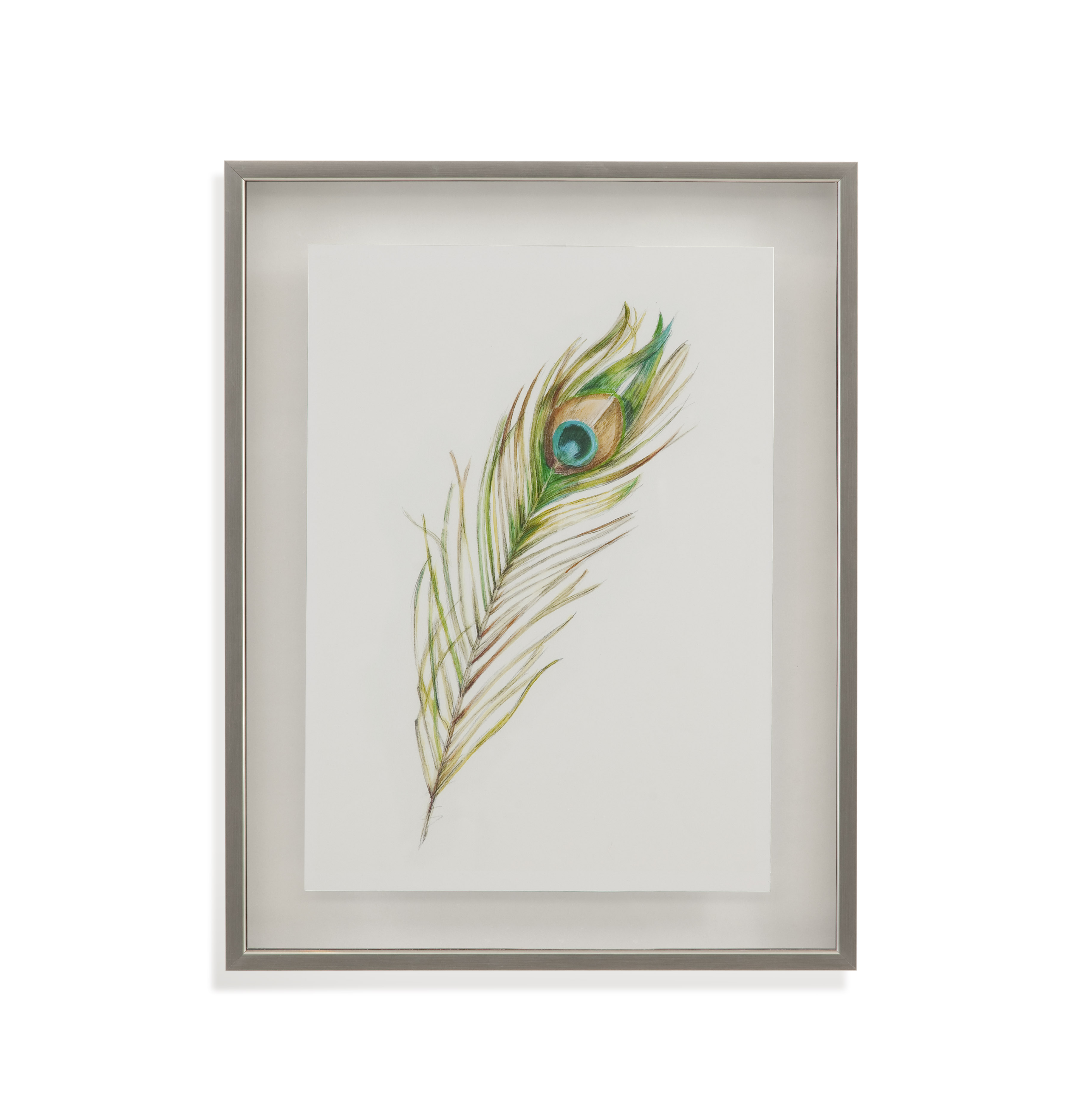 Home Accents Watercolor Peacock Feather II by Bassett Mirror at Alison Craig Home Furnishings
