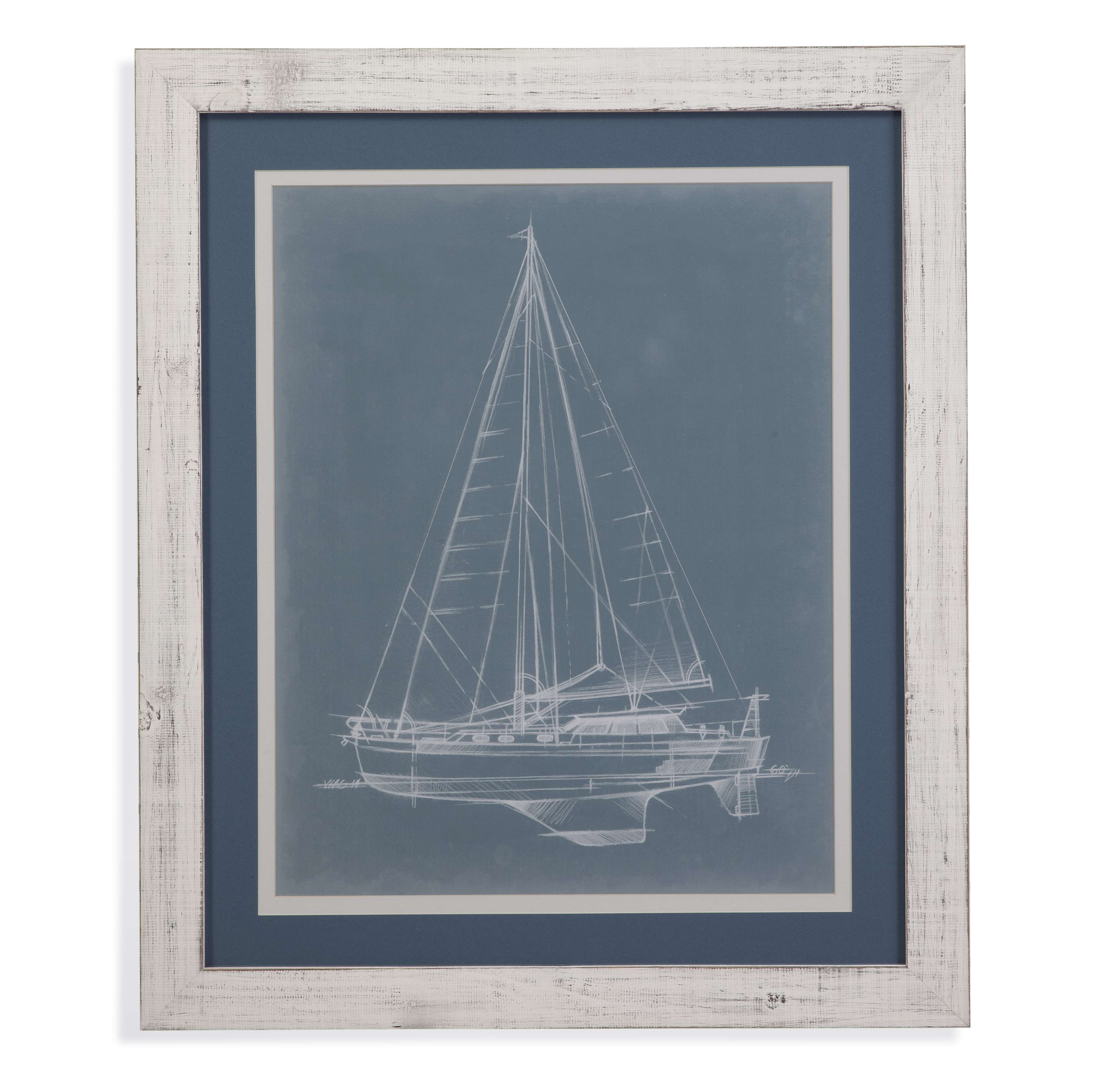 Pan Pacific Yacht Sketches I by Bassett Mirror at Nassau Furniture and Mattress