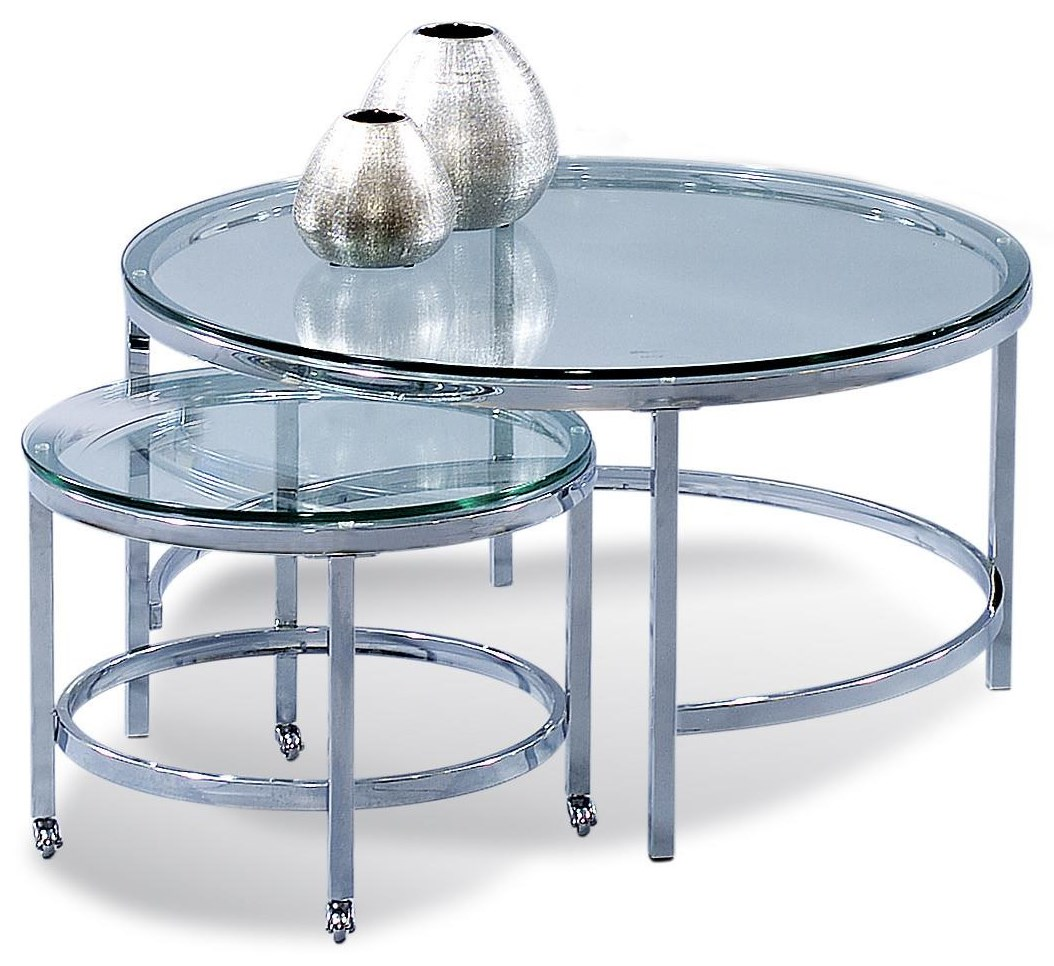 Patinoire Round Cocktail Table by Bassett Mirror at Johnny Janosik