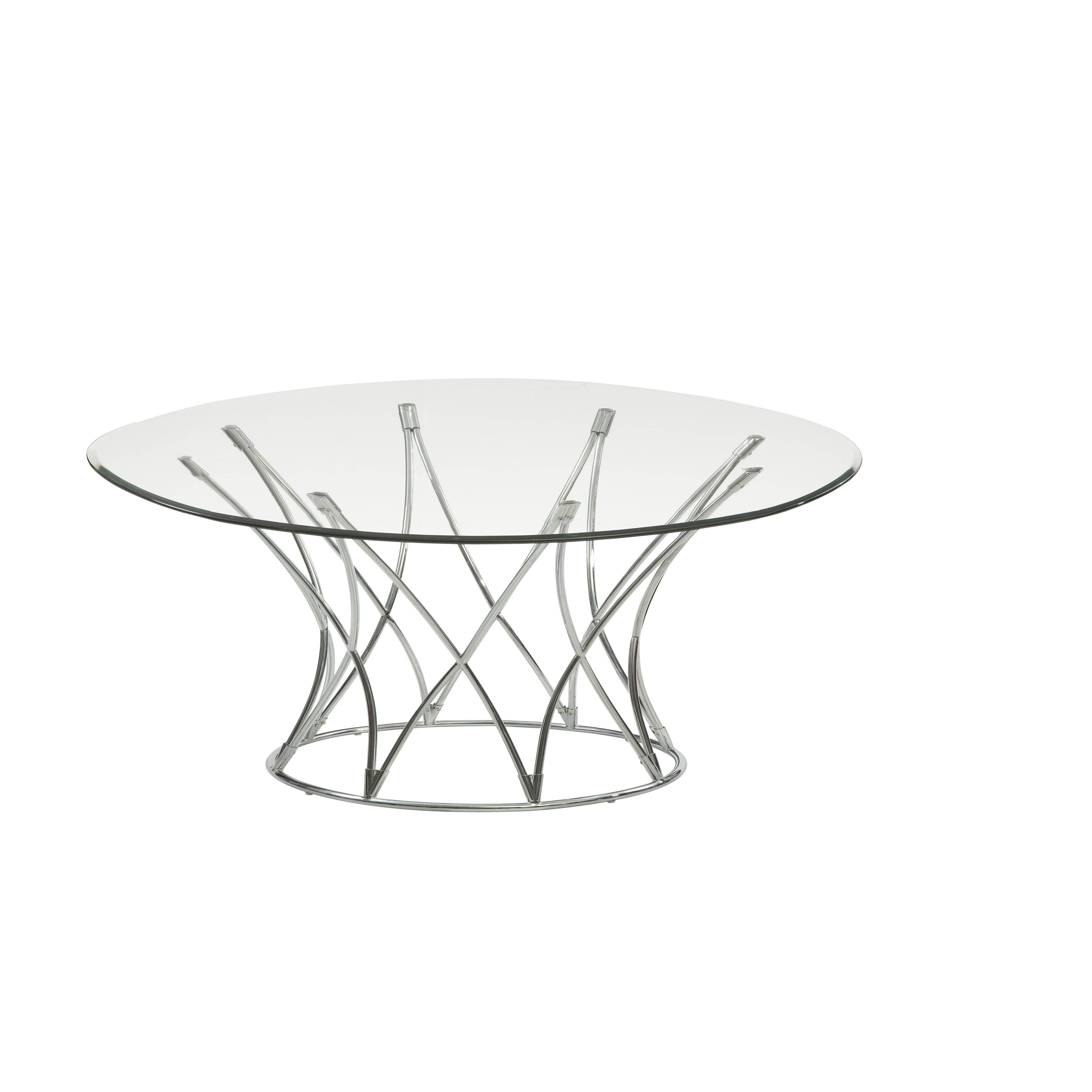 Thoroughly Modern Mercer Round Cocktail Table by Bassett Mirror at Alison Craig Home Furnishings