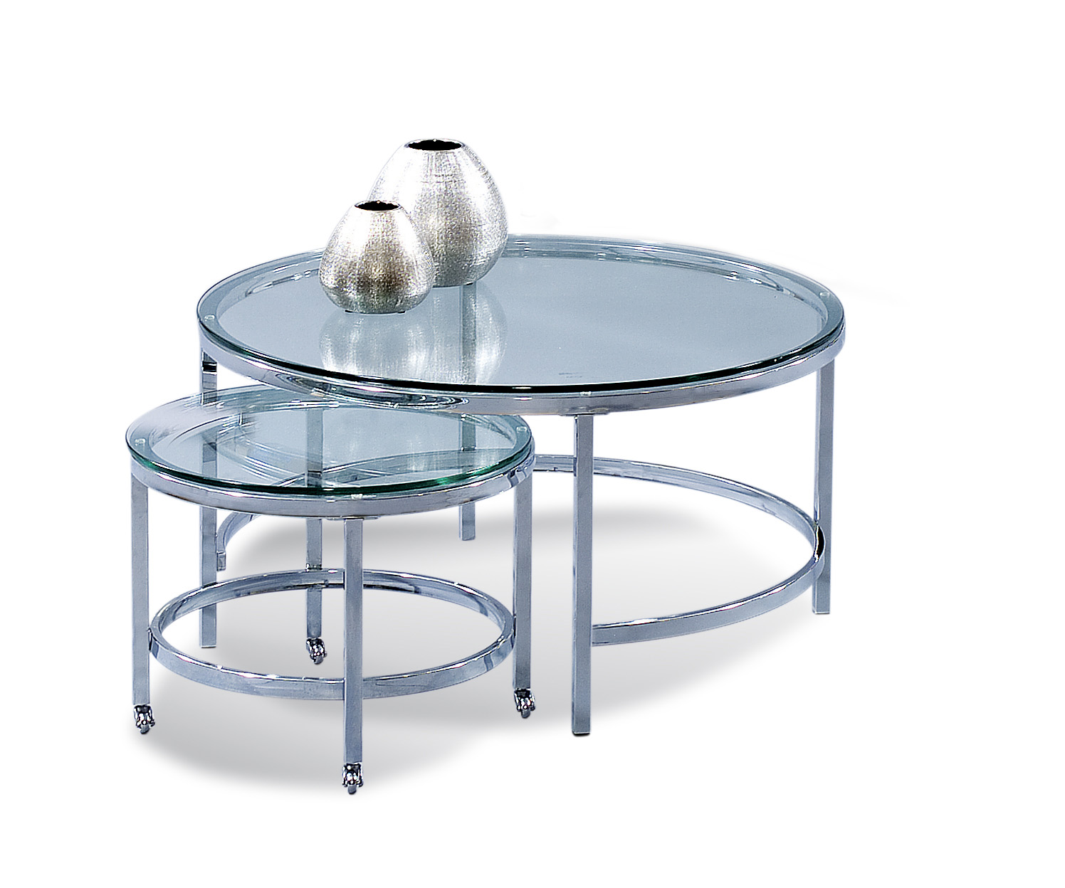Thoroughly Modern Patinoire Round Cocktail Table by Bassett Mirror at Darvin Furniture
