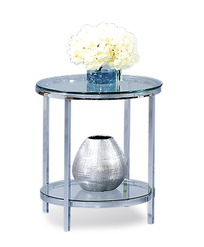 Thoroughly Modern Patinoire Round End Table by Bassett Mirror at Darvin Furniture