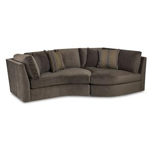 Transitional Two Piece Accent Sofa with Curved Shape