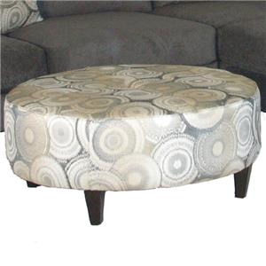 Contemporary Round Ottoman with Tapered Legs
