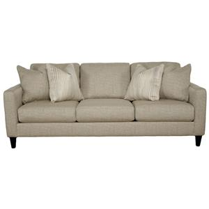 Contemporary Sofa with Track Arms and 4 Accent Pillows